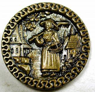 Antique Brass Button Woman W/ Rake & Basket In Village Scene - 1 & 1/16 photo