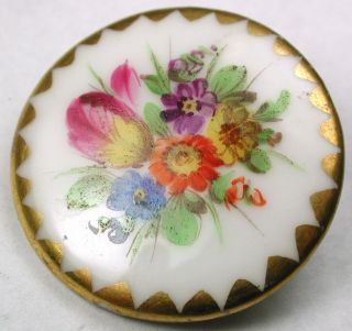 Lg Sz Antique Porcelain Button Hand Painted Flowers W/ Gold Border - 1 & 1/4