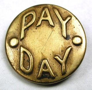 Antique Brass Work Clothes Button