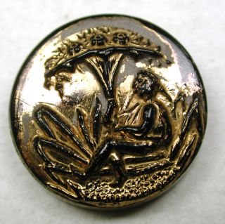 Antique Black Glass Button Figure Sitting Under Tree W/ Gold Luster - 11/16