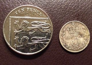 Silver 3d 1918 Old Antique Coin The Year World War I Ended, . photo