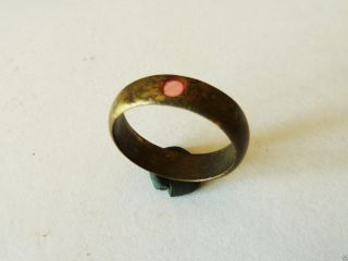 Post Medieval Bronze Ring With Glass Insert (347) photo
