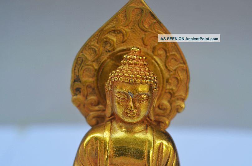 Delicate Chinese Brass Handmade Carved Lifelike Buddha Statue Buddha photo