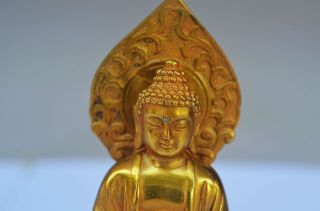 Delicate Chinese Brass Handmade Carved Lifelike Buddha Statue photo
