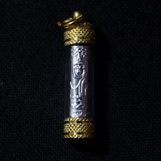 Buddha Thai Amulets Silver Takrut Yant Phra Lp Tanjai Success Lucky Charm N16 photo