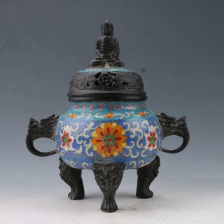 Chinese Cloisonne Hand - Carved Incense Burner & Buddha Lid W Qianlong Mark Zx175 photo