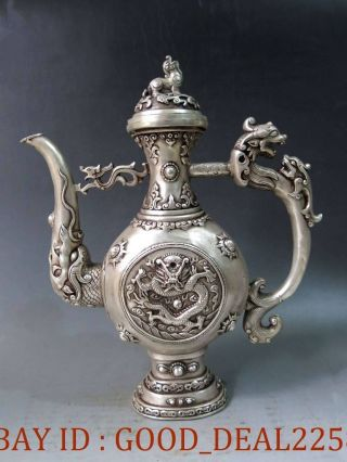 Chinese Vintage Handwork Silver Copper Dragon Tea Pot photo