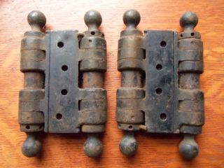 Two Antique Spring Loaded Swinging Saloon Door Hinges C1900 Double Action 3