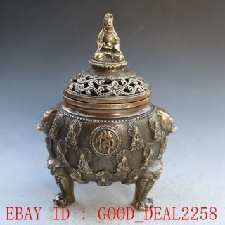 Chinese Bronze Incense Burner - - Kwanyin& Lotus W Ming Dynasty Xuande Mark photo