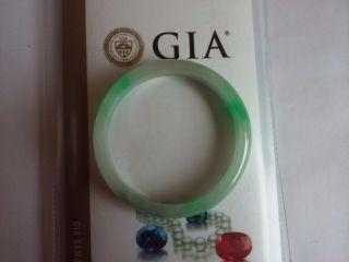China Green Jadeit Jade Half Round Side Bangle Bracelet With Gia photo