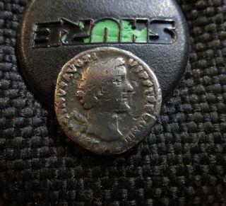 Ancient Roman Silver Coin.  Ar Denarius.  Antoninus Pius. photo