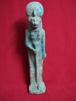 Ancient Egyptian Ushabti Of God Sekhmet (1390 - 1352 B.  C) photo