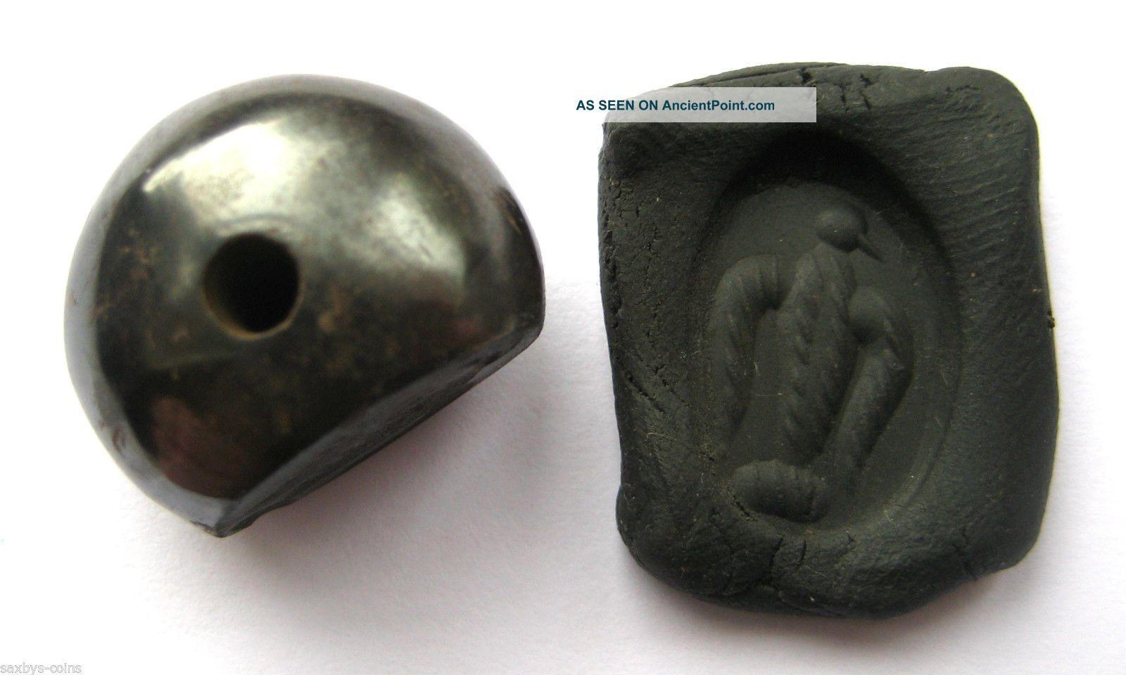 Circa.  400 A.  D Sassanian Empire Zoomorphic Pirite Seal Matrix - Eagle Detail Near Eastern photo