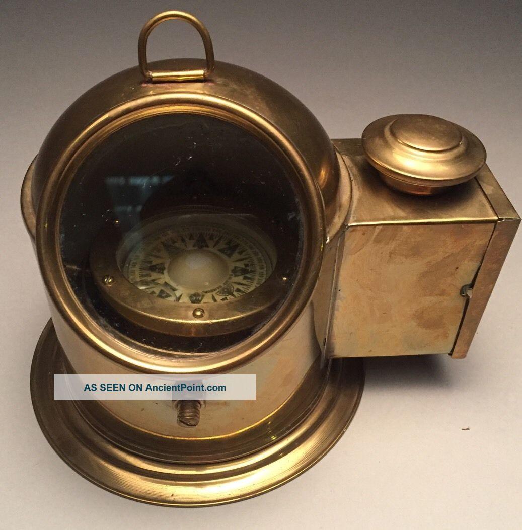 C.  Plath Lifeboat Ships Compass With Light Box Oil Lamp Hamburg Germany Binnacle Compasses photo
