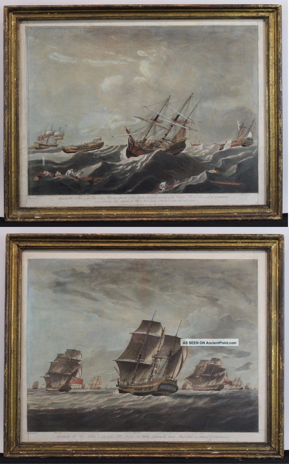 2 Antique 18thc English Maritime John Harris Ship Hand Colored Engravings,  Nr Other Maritime Antiques photo
