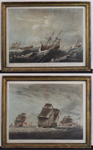 2 Antique 18thc English Maritime John Harris Ship Hand Colored Engravings,  Nr photo