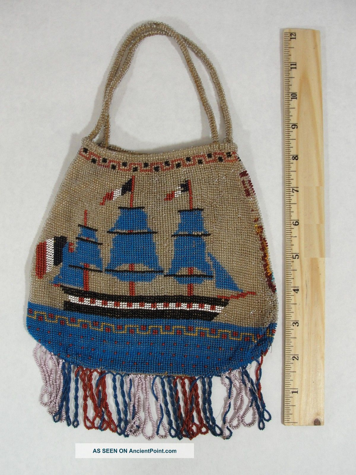 Rare Antique 19thc French,  Sailing Gun Ship & Flags Beaded Handbag,  Pocketbook Folk Art photo