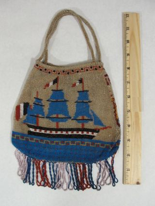 Rare Antique 19thc French,  Sailing Gun Ship & Flags Beaded Handbag,  Pocketbook photo