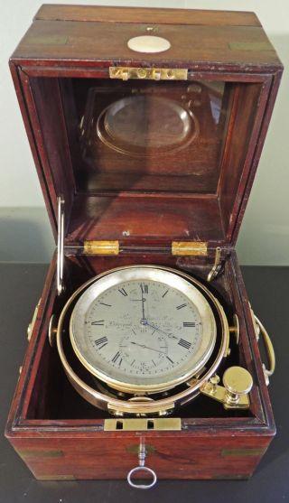 Antique Marine Chronometer,  Robert Roskell,  Liverpool Ca1840 - 60 Mahogany Box photo