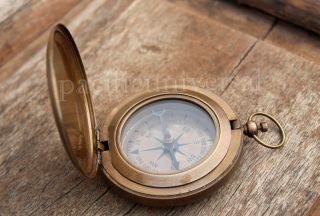 Nautical Vintage Marine Compass Collectible 3  Push Button Compass photo