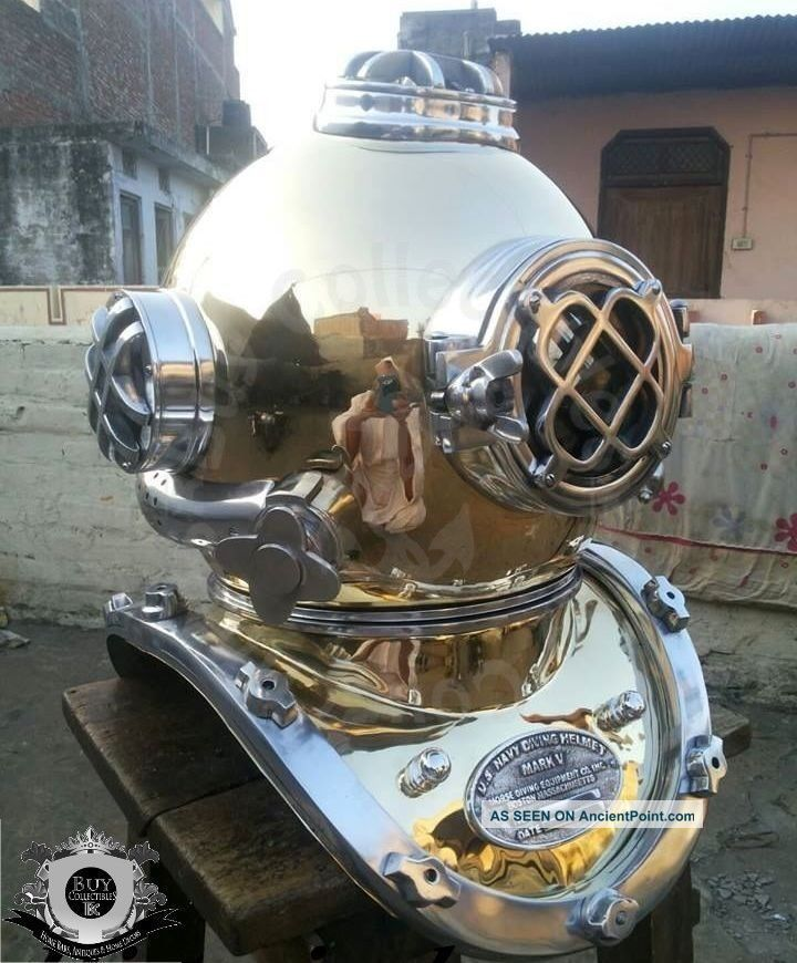 Antique U.  S Navy Mark V Diving Divers Helmet Solid Steel & Brass Full Size Diving Helmets photo