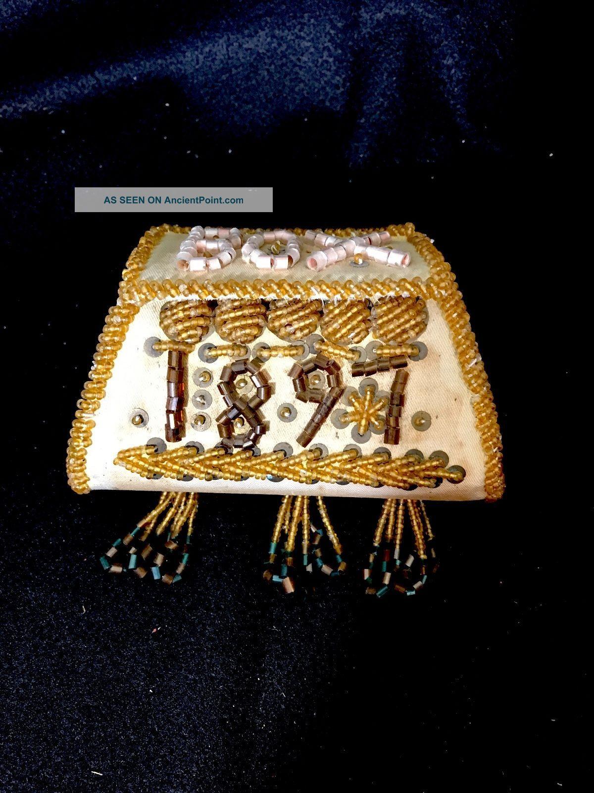 Iroquois Bead Work Box Purse Dated 1897 Native American Aafa Native American photo
