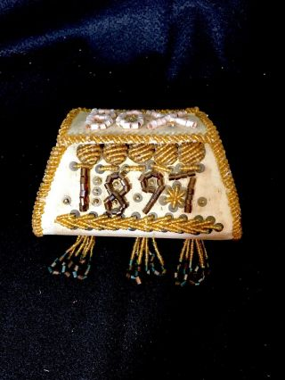 Iroquois Bead Work Box Purse Dated 1897 Native American Aafa photo