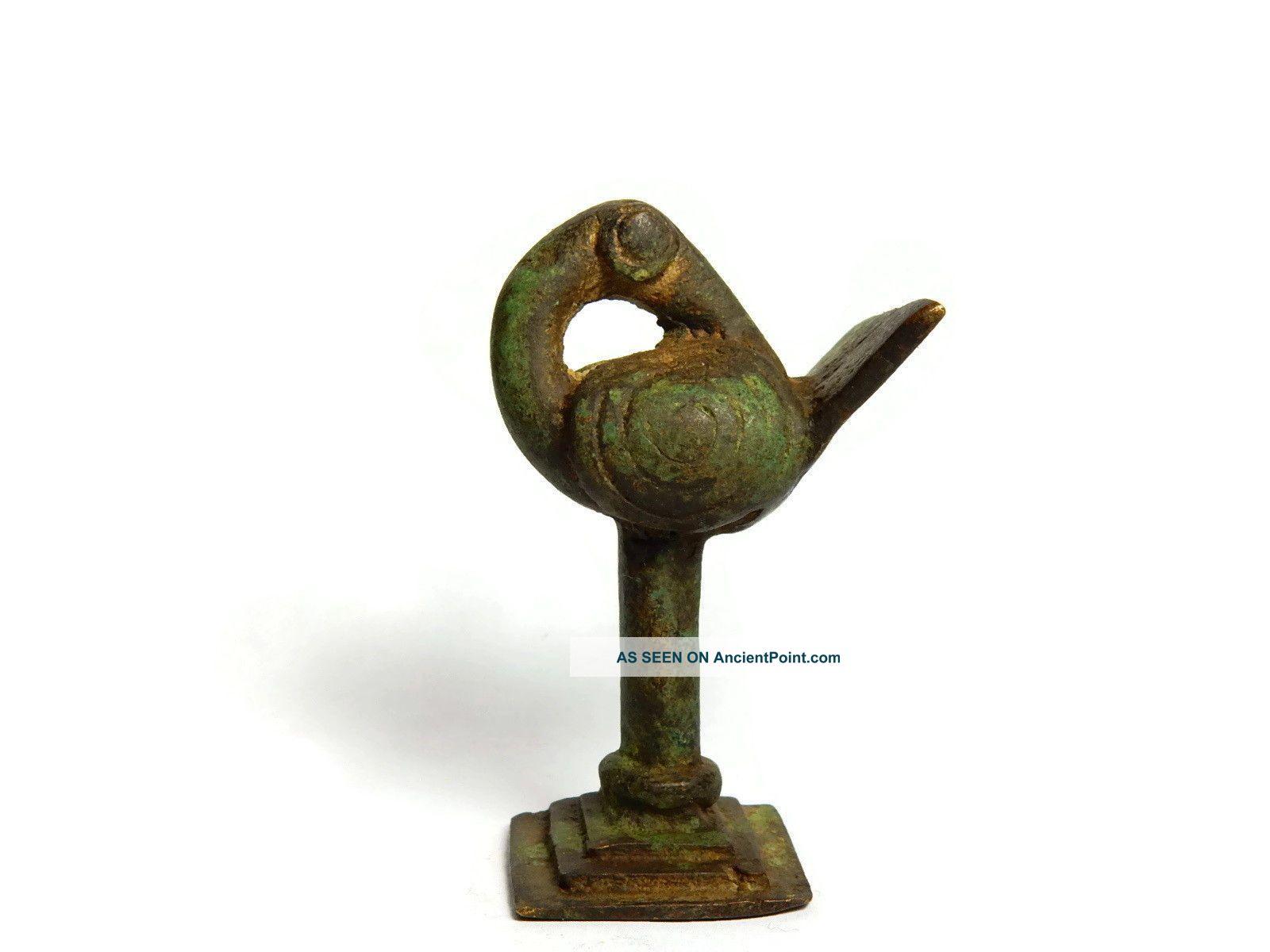 Rare African Antique Cast Bronze Akan Ashanti Gold Weight - A Sankofa Bird Sculptures & Statues photo