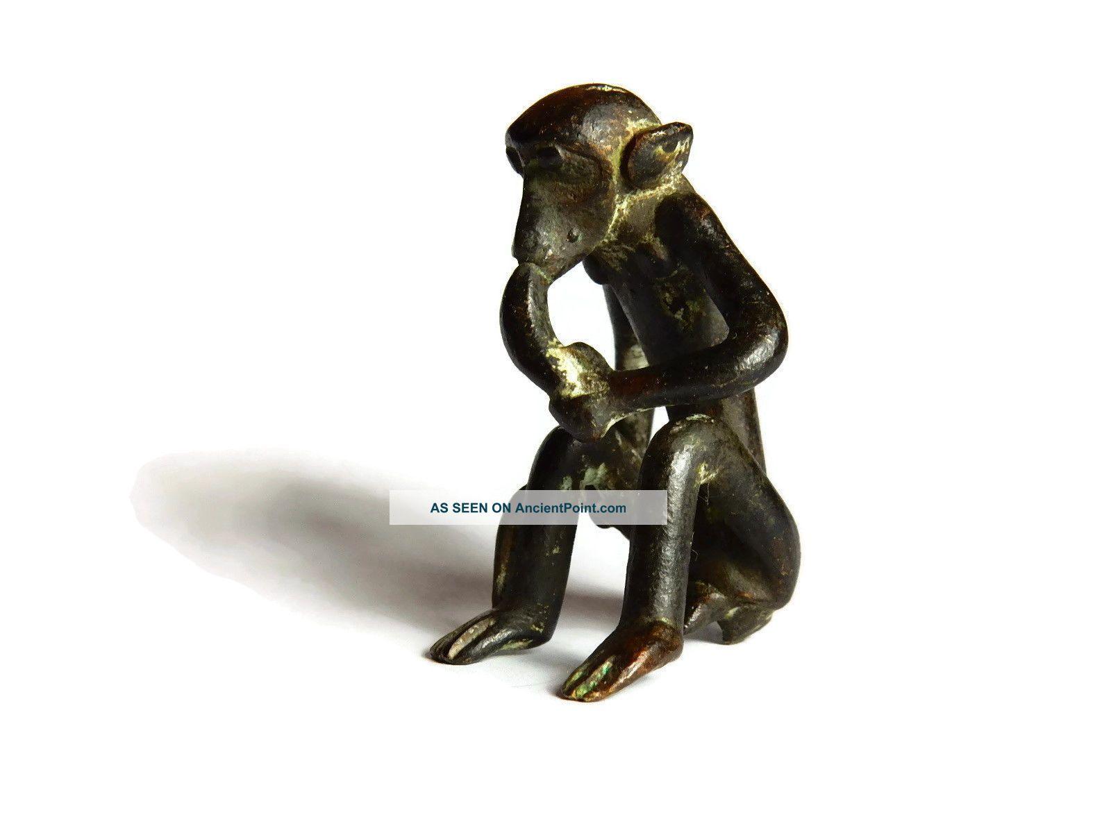 African Antique Cast Bronze Akan Ashanti Gold Weight - A Monkey 3 Sculptures & Statues photo