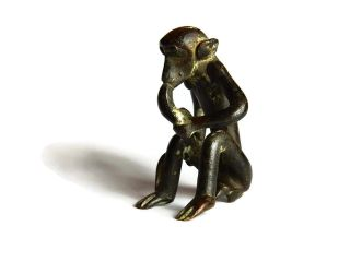 African Antique Cast Bronze Akan Ashanti Gold Weight - A Monkey 3 photo