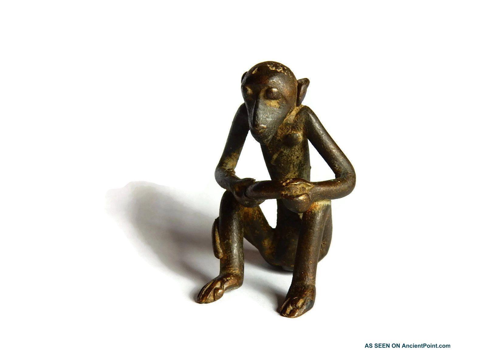 African Antique Cast Bronze Akan Ashanti Gold Weight - A Monkey 1 Sculptures & Statues photo