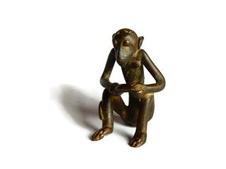 African Antique Cast Bronze Akan Ashanti Gold Weight - A Monkey 1 photo