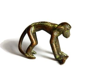 African Antique Cast Bronze Akan Ashanti Gold Weight - A Monkey 6 photo
