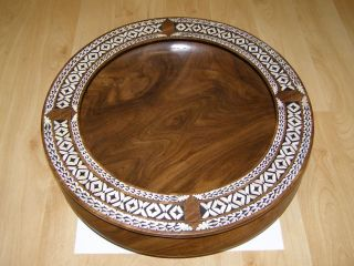 Solomon Islands Carved Ebony Wood Bowl With Nautilus Shell Inlay photo