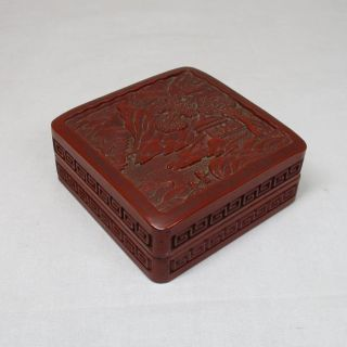 F825: Chinese Tsuishu Lacquerware Style Vermilion Case With Landscape Design photo