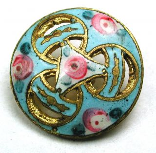 Antique French Enamel Button Pierced Rose & Turquoise Interlocking Rings - 9/16