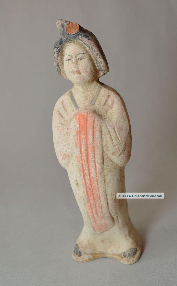 Ancient Chinese Pottery Pretty Lady Attendant Tang 618 - 907 China 中国古董 Chinese photo