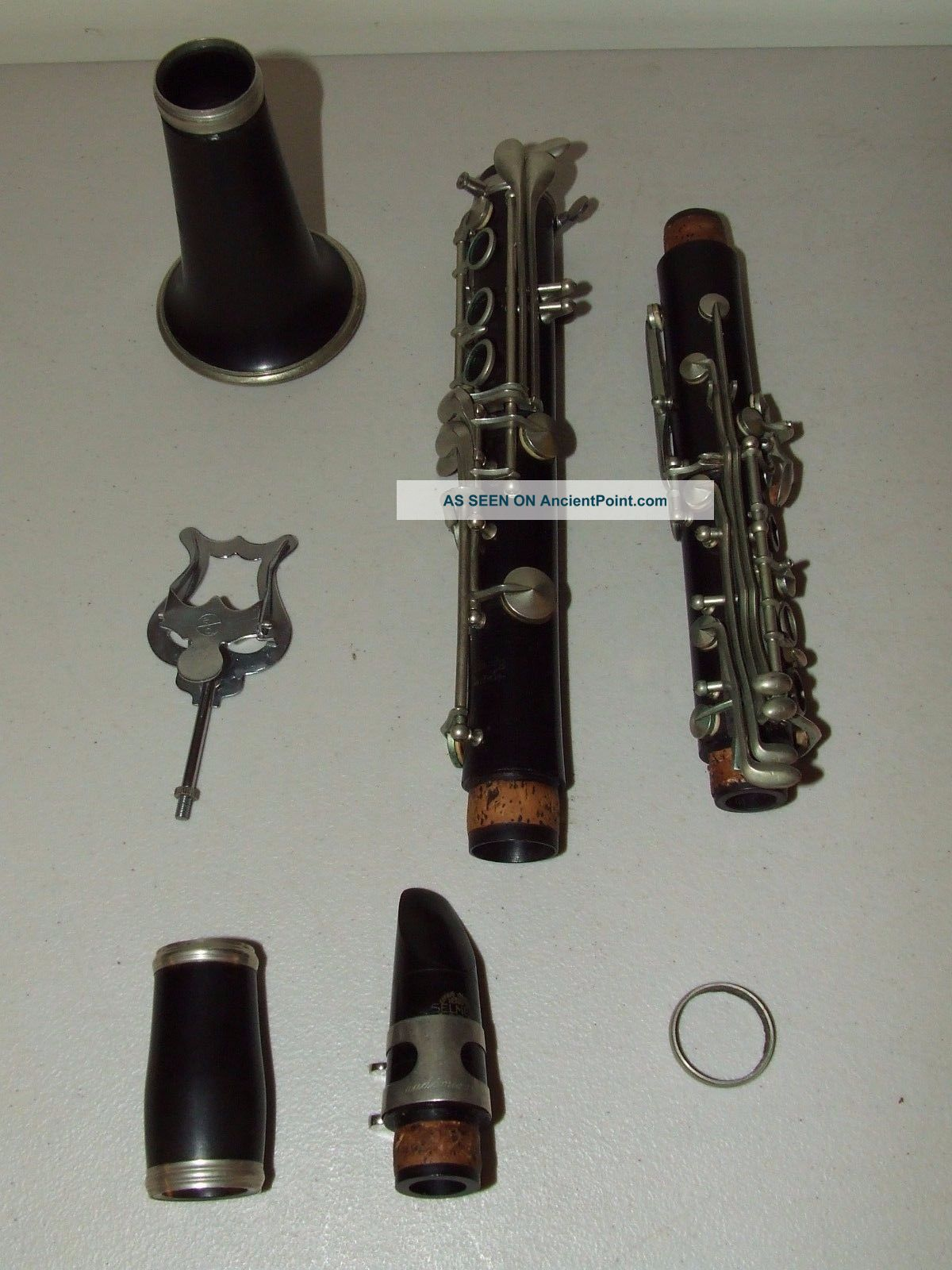 Antique G.  M.  Bundy Paris French Rosewood Wood Clarinet With Selmer Leather Case Wind photo
