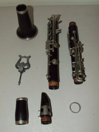 Antique G.  M.  Bundy Paris French Rosewood Wood Clarinet With Selmer Leather Case photo