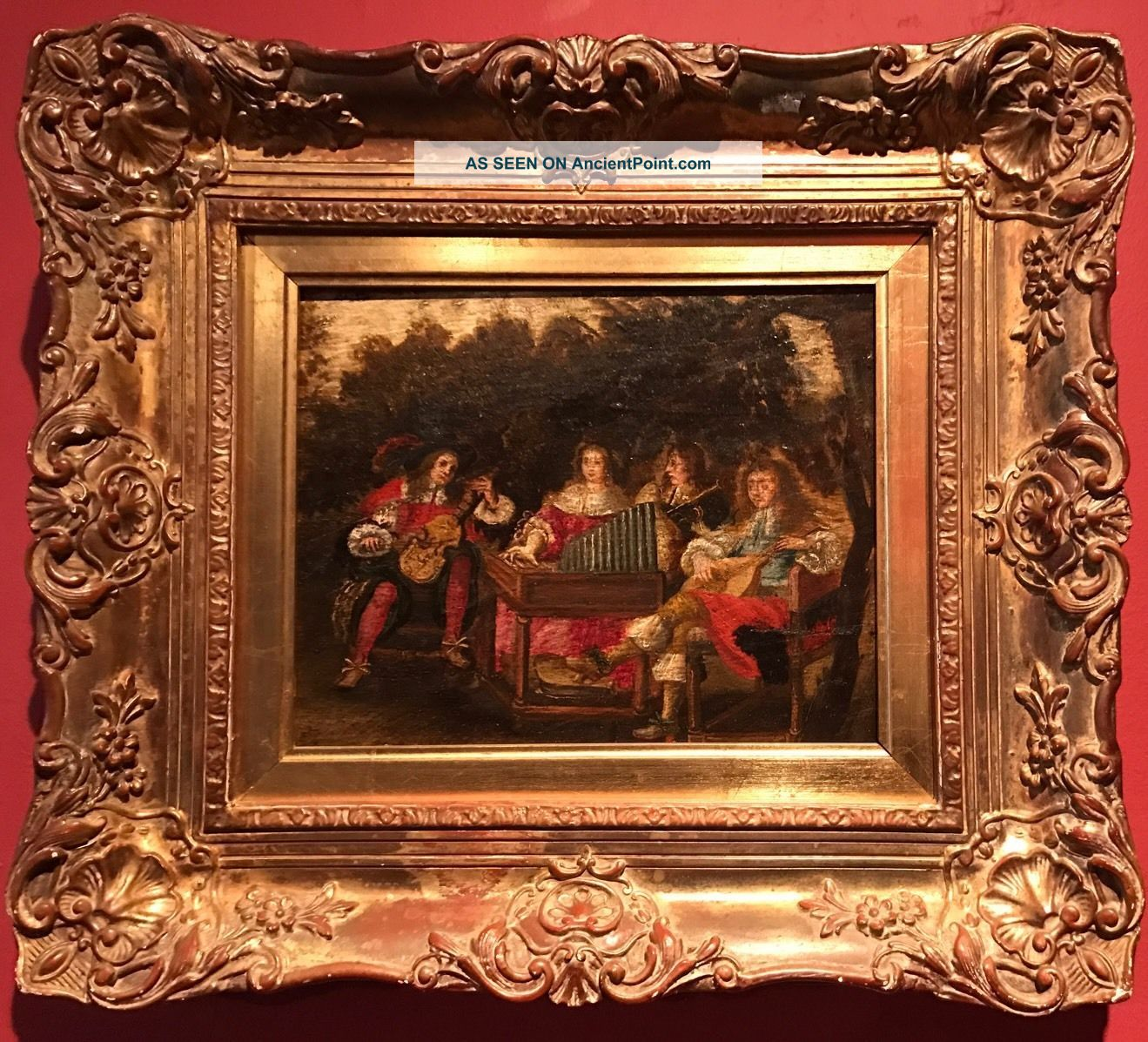 17th Century English School Oil Painting Royal Musicians Playing In Garden Court Other Antique Instruments photo