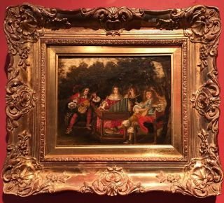 17th Century English School Oil Painting Royal Musicians Playing In Garden Court photo