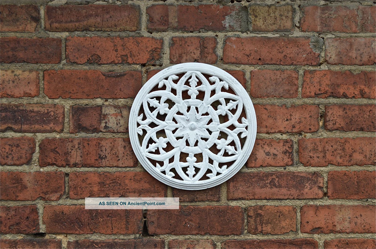 Gothic Antiqued White Paint Fret Carved Wooden Roundel Grill Wall Art Other Antique Hardware photo