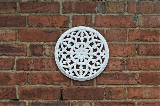 Gothic Antiqued White Paint Fret Carved Wooden Roundel Grill Wall Art photo