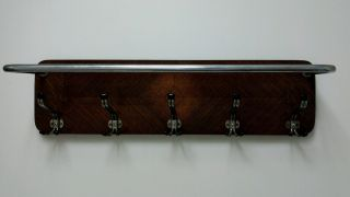 Classic Art Deco Wall Mounted Oak And Chrome Coat Rack And Shelf photo