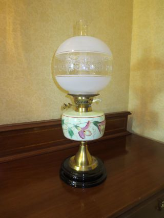 Antique Duplex British Make Oil Lamp Complete With Etched Ball Shade photo