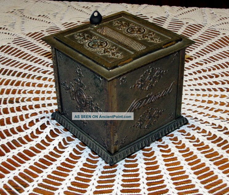 Antique National Nickel Plated Cash Register Receipt Ticket Box Cash Register, Adding Machines photo