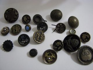20 Antique Victorian Metal Buttons - Variety photo