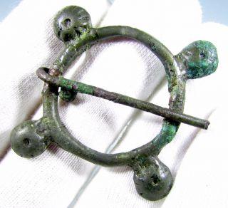 Medieval Bronze Decorated Ring Brooch / Fibula - Rare Ancient Artifact - B425 photo