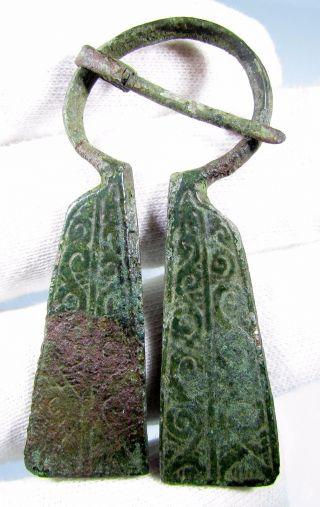 Viking Bronze Penannular Omega Brooch / Runic - Lovely Ancient Artifact - B420 photo