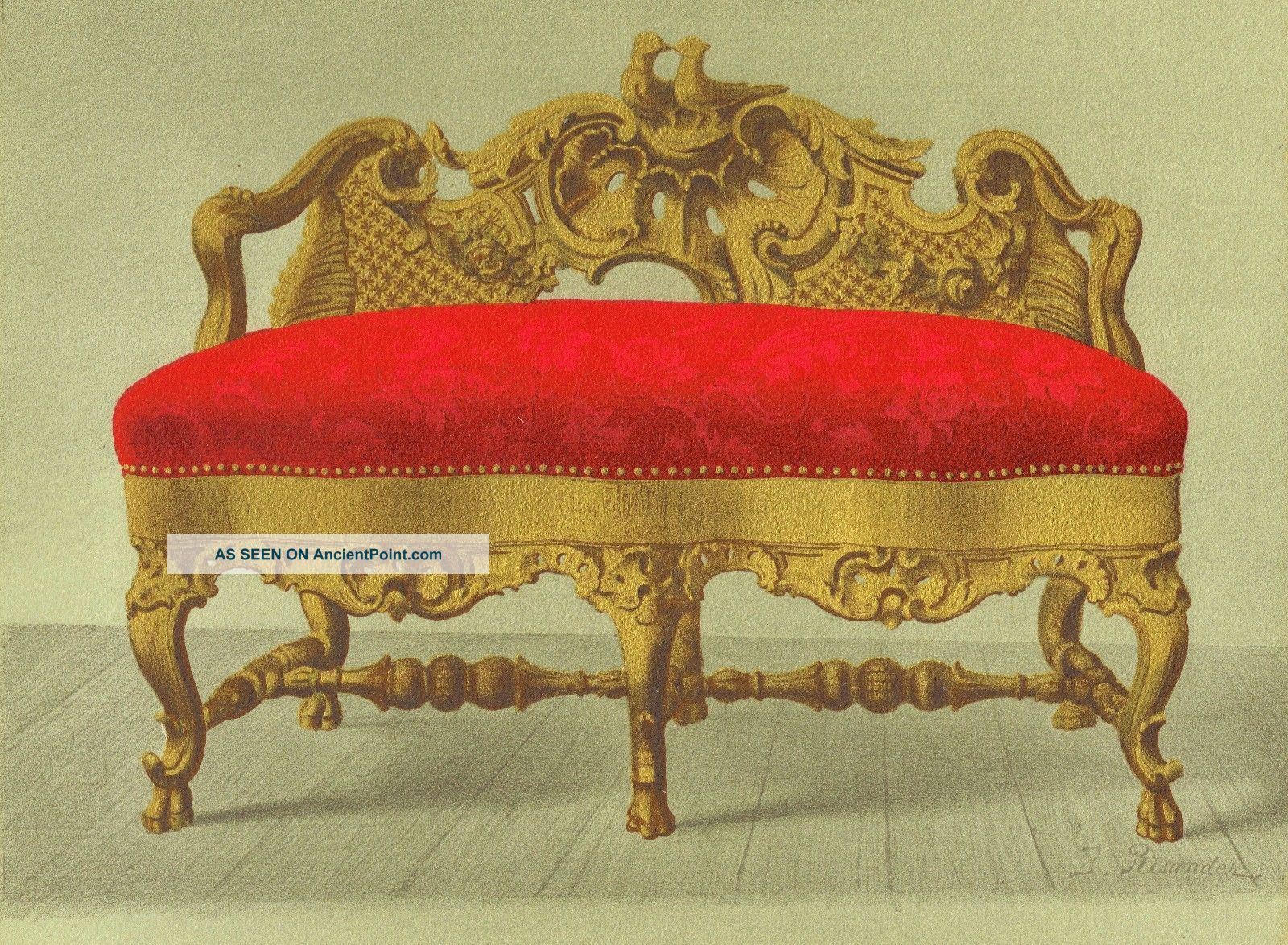 Rococo Style Sofa - Gold Walnut Furniture Decor Art Antique Lithograph Print 1888 1800-1899 photo